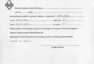 Pozwolenie na udział w biwakówce